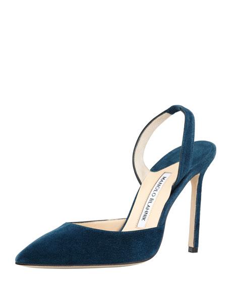 Carolyne Suede High-Heel Halter Pump, Teal