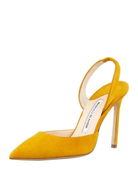 Carolyne Suede High-Heel Halter Pump, Ochre