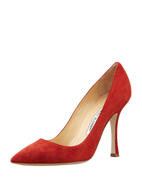 BB Suede Point-Toe Pump, Burnt Orange