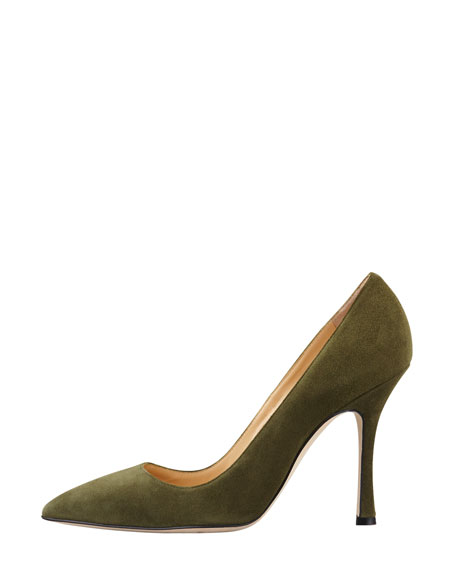 BB Suede Pointed-Toe Pump, Olive