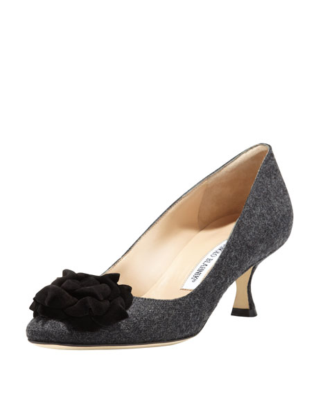 Lisawiflo Kitten-Heel Flannel Flower Pump