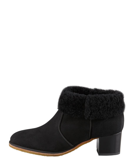 Belen Shearling-Collar Ankle Boot