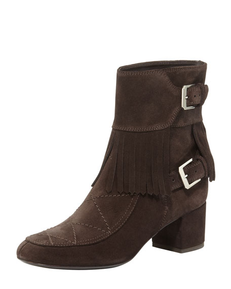 Barbacar Quilted Fringe Ankle Boot