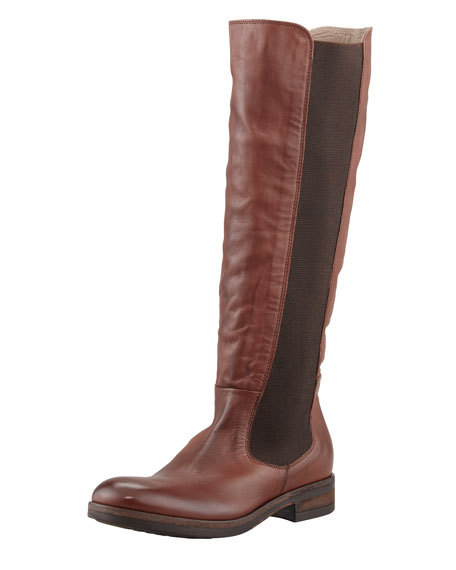 Lia Gored Leather Riding Boot, Cotto