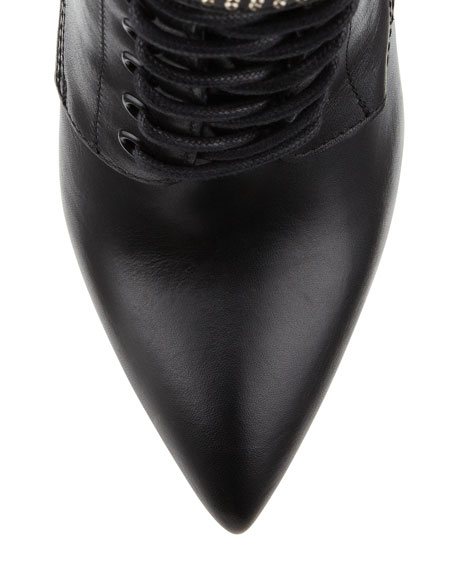 Studded Lace-Up Platform Boot