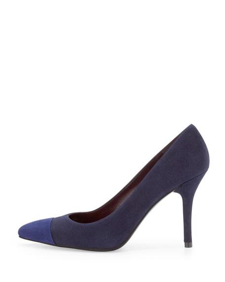 Elegant Suede Cap-Toe Pump, Nice Blue/Sapphire