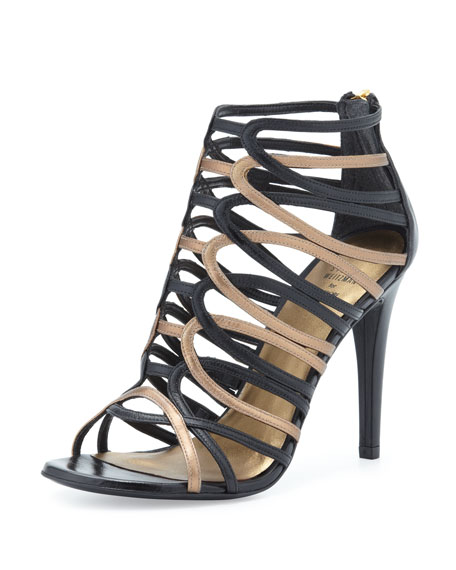 Loops Two-Tone Cage Sandal, Black/Bronze
