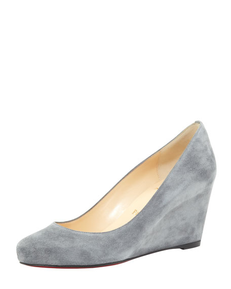Melisa Suede Wedge Red Sole Pump, Gray