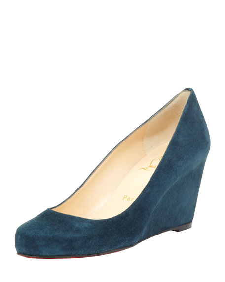Melisa Suede Wedge Red Sole Pump, Blue