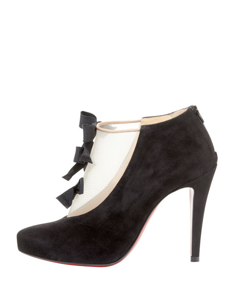 Suede-Mesh Bow Red Sole Bootie