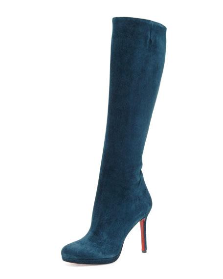 Botalili Suede Platform Red Sole Boot, Blue