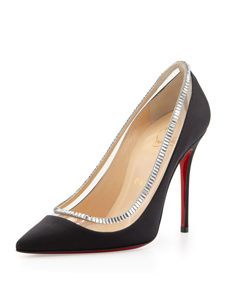 Paulina Satin Crystal-Collar Red Sole Pump