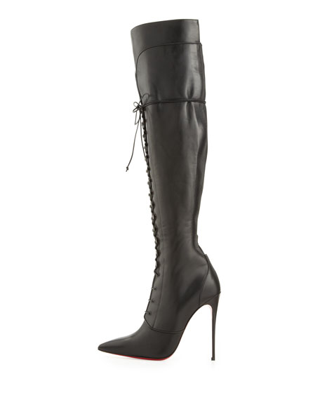 Mado Over-the-Knee Red Sole Boot, Black