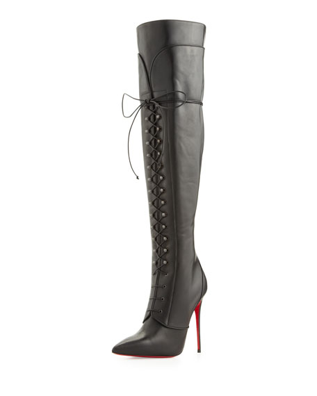 8d93aa4fd9e Mado Over-the-Knee Red Sole Boot Black