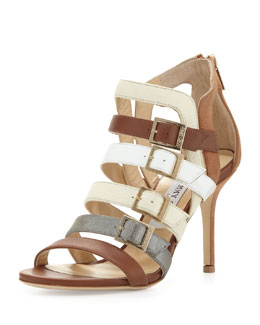 Jimmy Choo Bubble Buckled Combo Sandal, Neutral