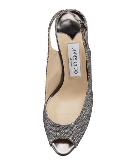 Nova Peep-Toe Lamé Slingback, Charcoal
