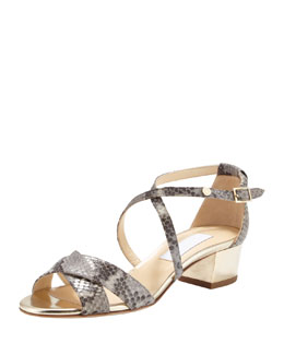 Jimmy Choo Merit Block-Heel Snake-Print Sandal, Light Gray