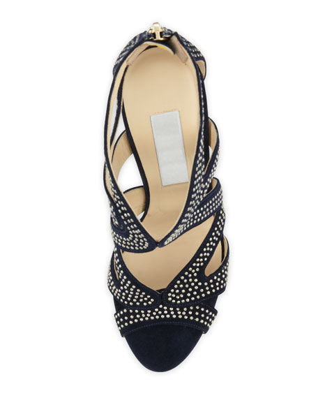 Collar Studded Suede Sandal, Navy/Silver