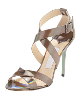 Jimmy Choo Lottie Holographic Crisscross Sandal, Multi