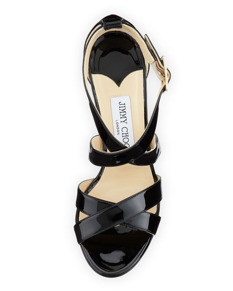 Louise Crisscross Patent Leather Sandal, Black