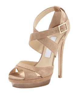 Jimmy Choo Kayak Crisscross Platform Sandal, Neutral