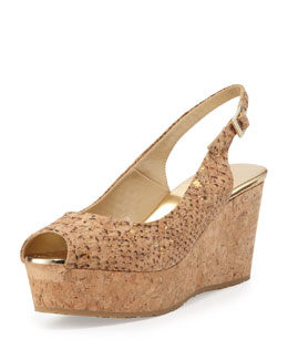 Jimmy Choo Praise Snake-Print Wedge Sandal, Gold