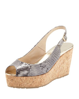 Jimmy Choo Praise Snake-Print Cork Wedge, Neutral