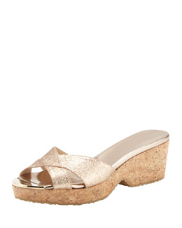 Jimmy Choo Panna Glittered Crisscross Slide, Neutral
