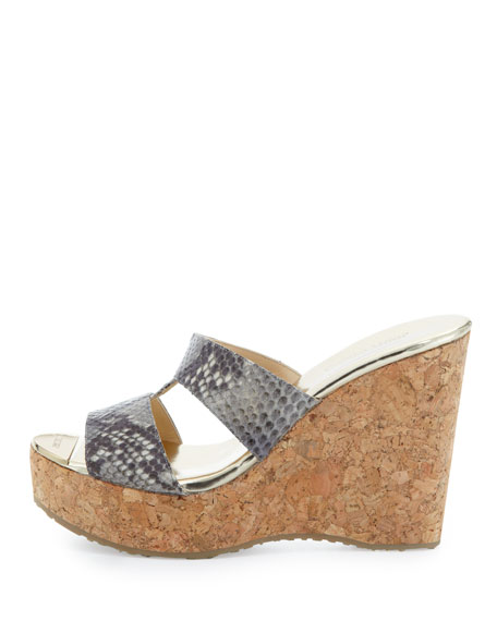 Porter Snake-Print Wedge Sandal, Neutral