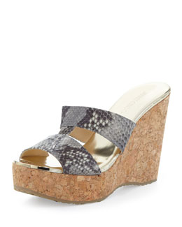 Jimmy Choo Porter Snake-Print Wedge Sandal, Neutral