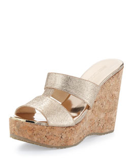 Jimmy Choo Porter Glittered Wedge Sandal, Neutral
