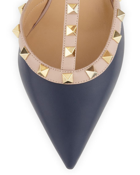Rockstud Leather Slingback, Navy