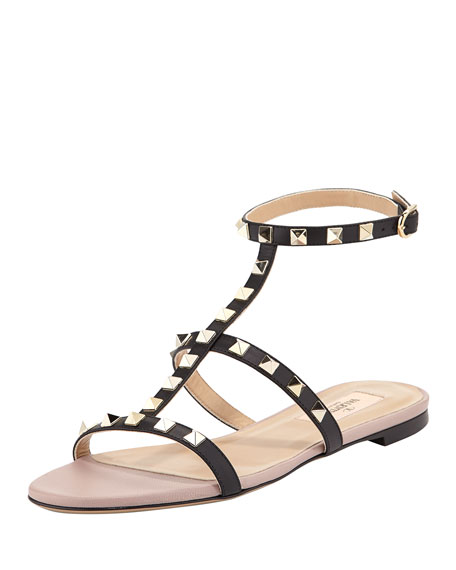 Rockstud Single-Wrap Gladiator Sandal, Black