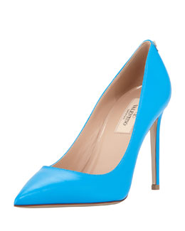 Valentino New Plain Pointed-Toe Pump, Blue