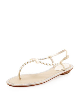 Pearly & Crystal Flat Thong Sandal, Ivory