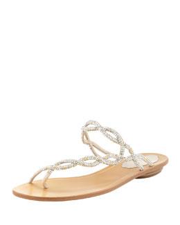 Braided Strass Toe-Ring Sandal, Metallic Gray