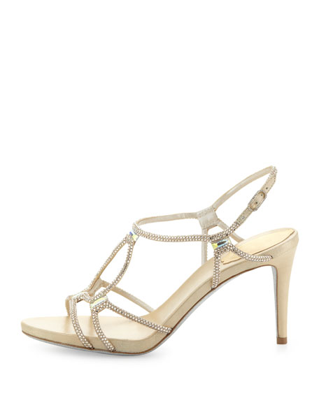 Two-Tone Crystal Gladiator Sandal, Gold