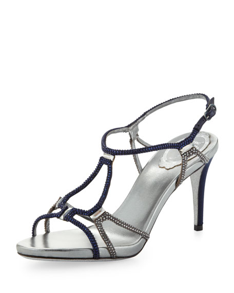 Two-Tone Crystal Gladiator Sandal, Navy