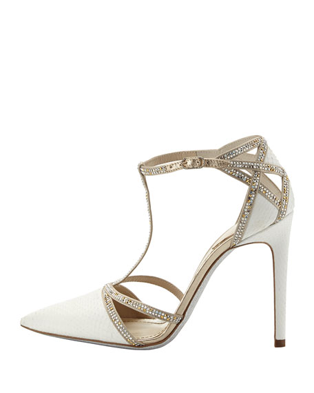 Bejeweled Snake-Print T-Strap Pump, White