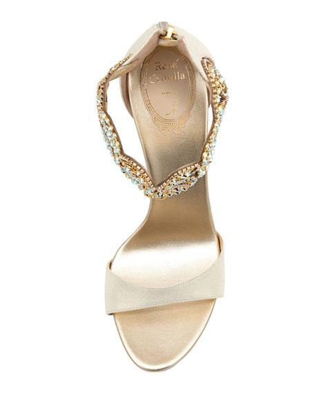 Wendy Crystal Ankle-Bracelet Sandal, Gold