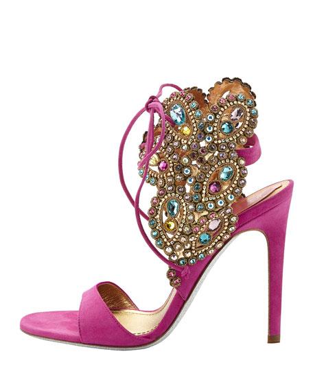 Embellished High-Heel Ankle-Tie Sandal, Fuchsia