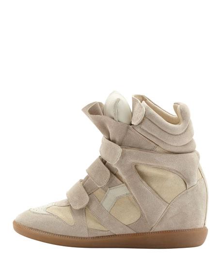 Beckett Hi-Top Wedge Sneaker, Beige