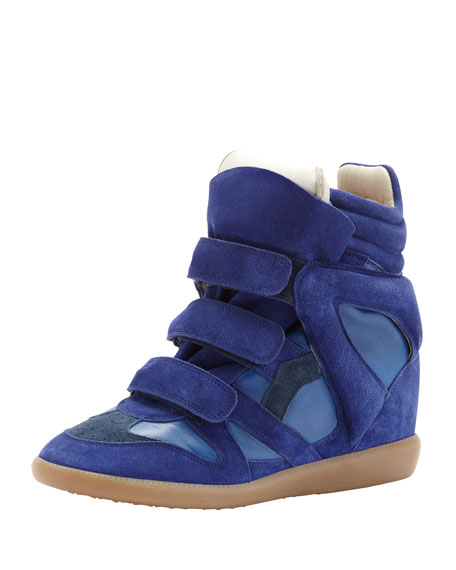 Burt High-Top Wedge Sneaker, Blue