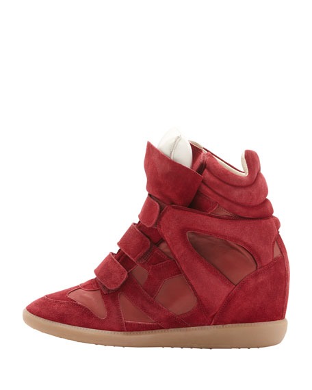 Burt High-Top Wedge Sneaker, Red