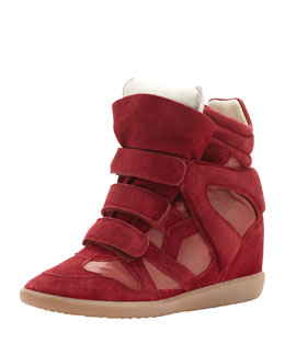 Isabel Marant Burt High-Top Wedge Sneaker, Red