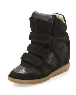 Isabel Marant Beckett Suede Wedge Sneaker, Black