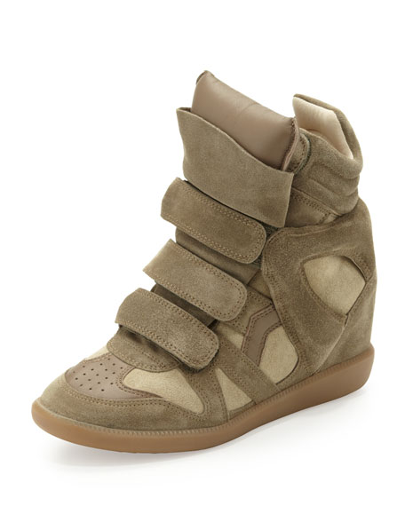 Beckett Suede Wedge Sneaker, Taupe