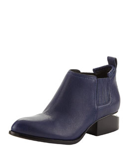 Alexander Wang Kori Leather Lift-Heel Ankle Bootie, Indigo