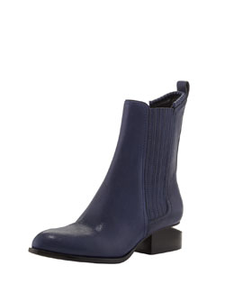 Alexander Wang Anouk Leather Notch-Heel Bootie, Indigo