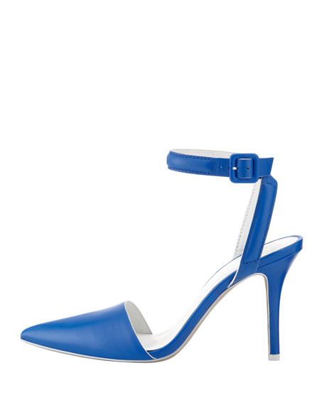 Lovisa Leather Ankle-Wrap Pump, Blue